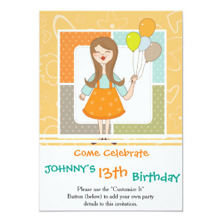 Adorable Cute Girl and Her Balloons 13 Cm X 18 Cm Invitation Card