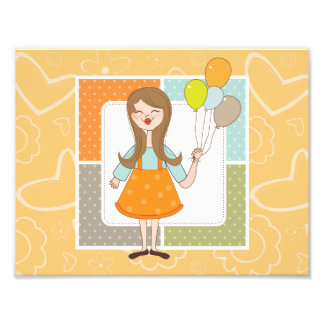 Adorable Cute Girl and Her Balloons Photo Art