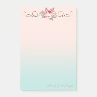 Adorable Cute Girly,Rose-Personalized Post-it Notes