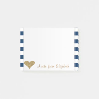 Adorable Cute Glittery Heart,Navy Blue Stripes Post-it Notes