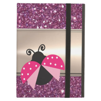 Adorable Cute Ladybug On Glittery iPad Air Cover