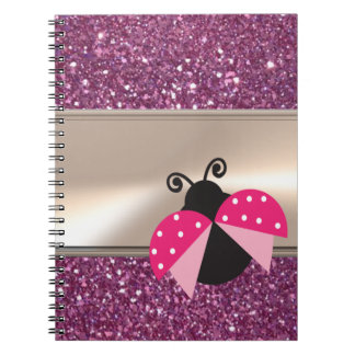 Adorable Cute Ladybug On Glittery Notebook