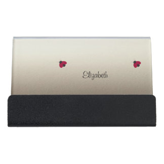 Adorable Cute ,Ladybugs,Luminous-Personalized Desk Business Card Holder