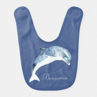 Adorable Cute Light Blue  Dolphin-Personalized Baby Bibs