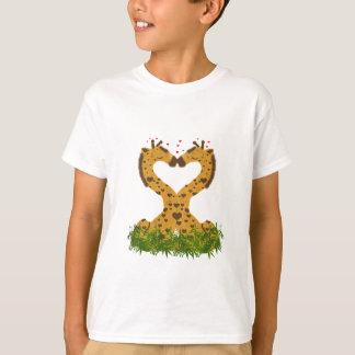 Adorable Cute Love Giraffes Heart Shaped Kissing T-Shirt