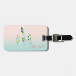 Adorable Cute  Modern Girly Feathers Luggage Tag