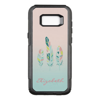 Adorable Cute  Modern Girly Feathers,Personalized OtterBox Commuter Samsung Galaxy S8+ Case