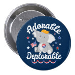 Adorable Deplorable Elephant Trump 2016 7.5 Cm Round Badge