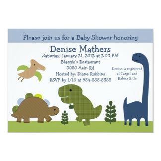 "Adorable Dino/Dinosaurs Baby Shower Invitation 5"" X 7"" Invitation Card"