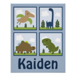 Adorable Dino/Dinosaurs Personalised Art Poster