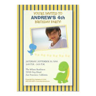 "Adorable Dinosaur Birthday Party Invite (yellow) 5"" X 7"" Invitation Card"