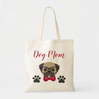 Adorable Dog Mum Tote with Bowtie & Glasses