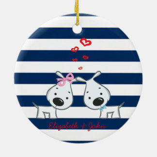 Adorable Dogs In Love on Striped-Personalized Christmas Ornament