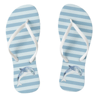 Adorable Dolphin On Light Blue  Stripes Flip Flops