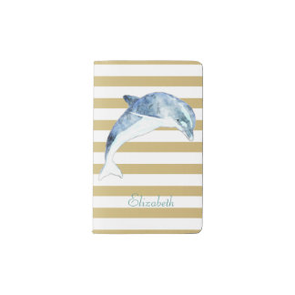 Adorable Dolphin  On Stripes-Personalized Pocket Moleskine Notebook