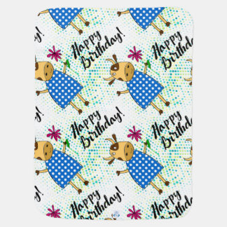 Adorable doodle cow with a flower for baby boys baby blanket