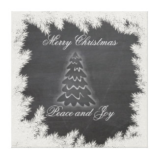Adorable ElegantChristmas tree holiday chalkboard Canvas Print