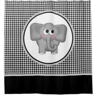 Adorable Elephant Black Houndstooth Shower Curtain
