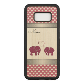 Adorable  elephant in love polka dots personalized carved samsung galaxy s8 case
