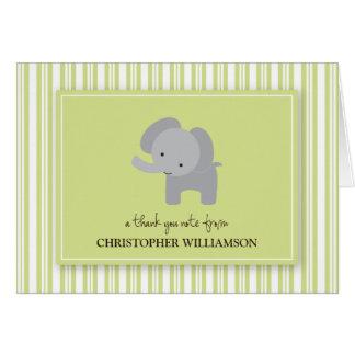 Adorable Elephant Kids Thank-You Card (green)