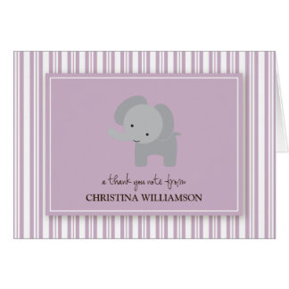 Adorable Elephant Kids Thank-You Card (lilac)