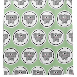 Adorable Elephant Pattern Green Shower Curtain