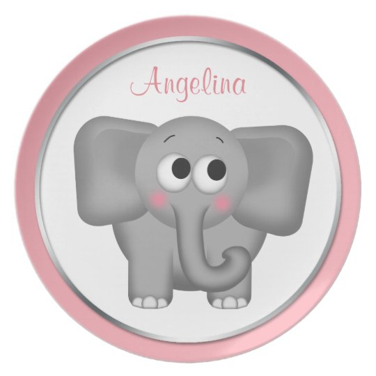 "Adorable Elephant - Personalised 10"" Pink Plate"
