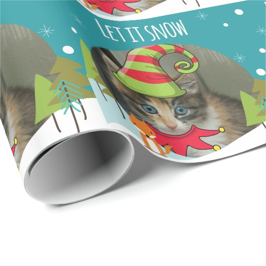 Adorable Elf Kitten Christmas wrapping paper