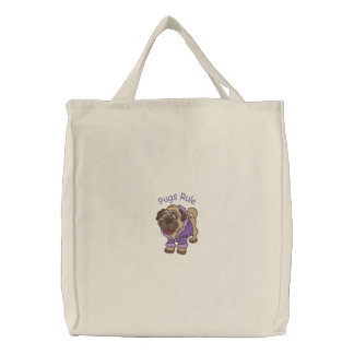 Adorable Embroidered Puggy Tote Bag - Customize