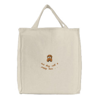 Adorable Embroidered Puppy Dog Tote Bag