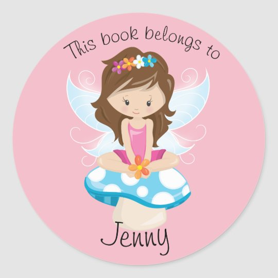 Adorable Fairy on Toadstool Personalised Classic Round Sticker