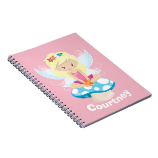 Adorable Fairy on Toadstool Personalized Notebook