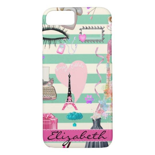 Adorable Fashion,Paris,Hearts Pattern iPhone 8/7 Case