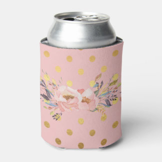 Adorable  Faux Gold Polka Dots Flowers Can Cooler