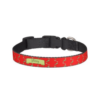 Adorable Fish and Bones Pattern with Name Pet Collar