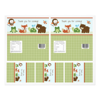 "Adorable ""Forest Animals"" Candy Bar Labels 2 sizes 21.5 Cm X 28 Cm Flyer"