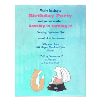 Adorable Fox and Rabbit Illustrated Birthday Party Card