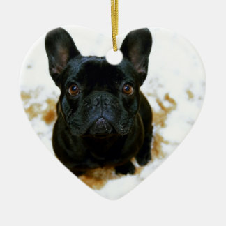 Adorable French Bulldog Puppy! Ceramic Heart Decoration