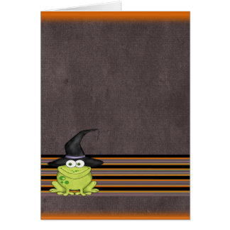 Adorable Frog in a Witches Hat Halloween Card