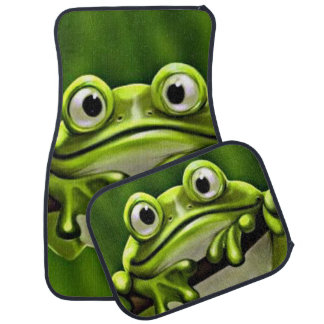 Adorable Funny Cute Green Frog In Tree Car Mat