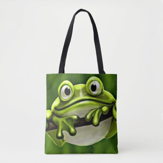 Adorable Funny Cute Green Frog In Tree Tote