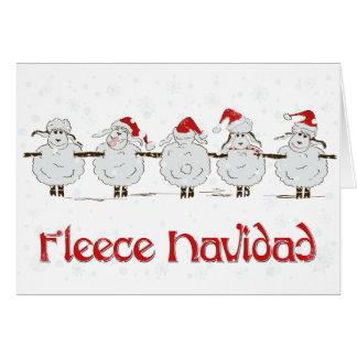 Adorable FUNNY Fleece Navidad Christmas Sheep Card