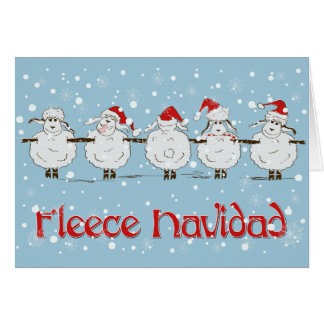 Adorable FUNNY Fleece Navidad Christmas Sheep Card