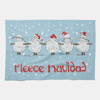 Adorable FUNNY Fleece Navidad Christmas Sheep Tea Towel
