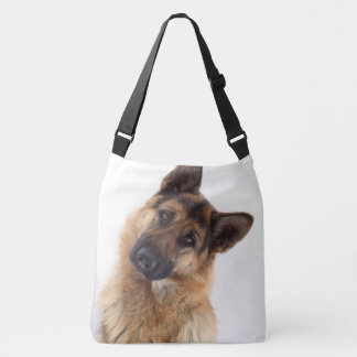 Adorable funny german shepherd portrait crossbody bag