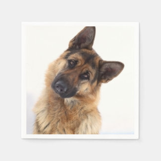 Adorable funny german shepherd portrait disposable serviette