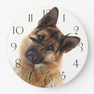 Adorable funny german shepherd portrait large clock