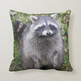 Adorable Furry Raccoon Throw Pillow