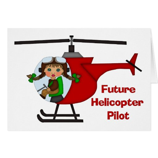 Adorable Future Pilot, Helicopter Pilot  - GIRLS Greeting Cards