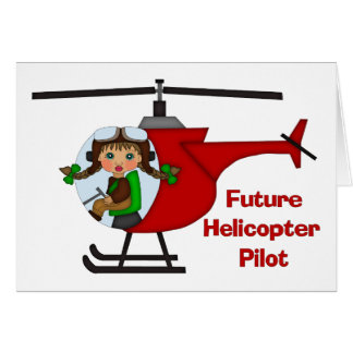 Adorable Future Pilot, Helicopter Pilot  - GIRLS Greeting Card